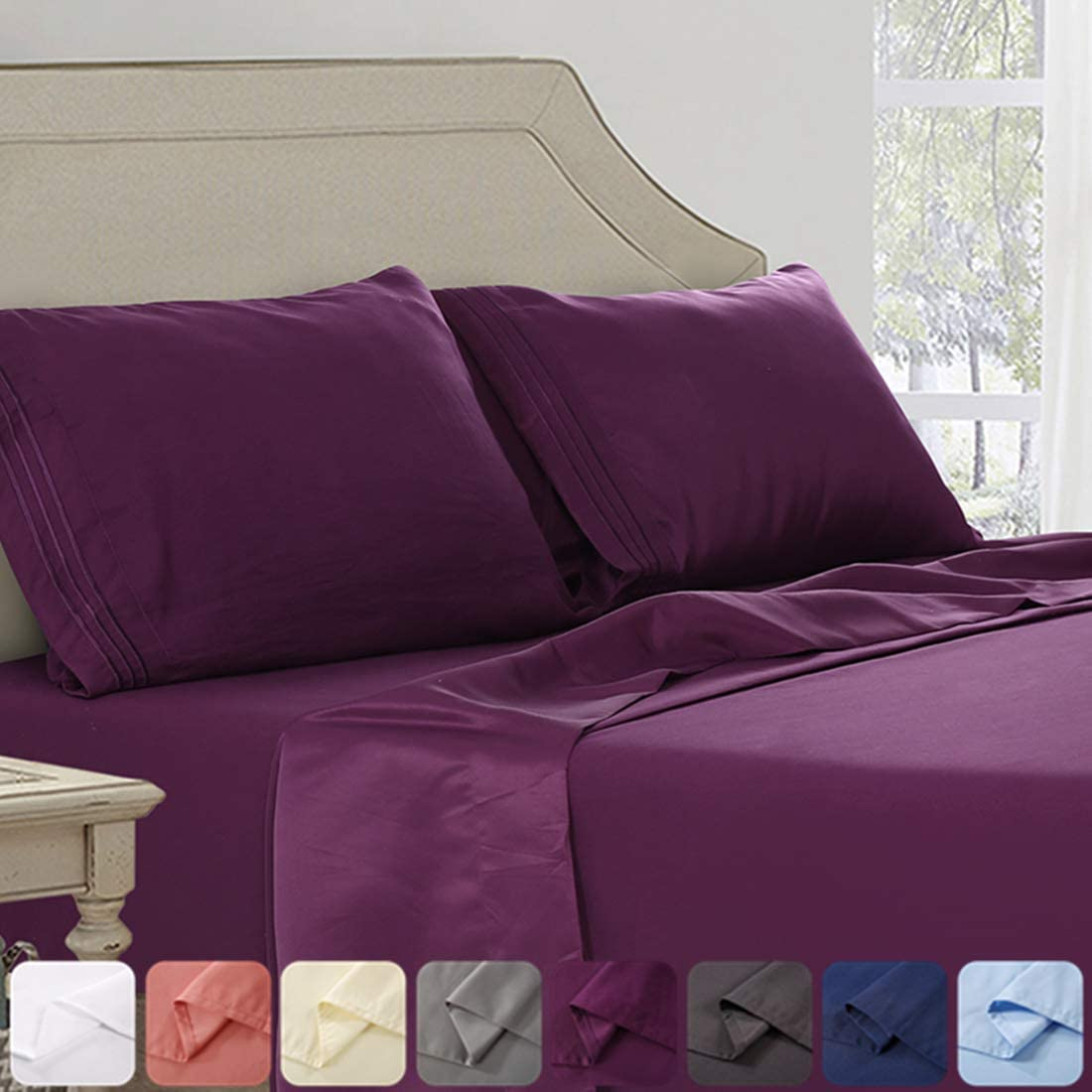 ABAKAN Bed Sheet Set Cal King Size Super Soft 4 Piece Bedding Sheet Smooth Microfiber 1800 Thread Count Luxury Premium Cooling Sheets Breathable Fade Resistant Deep Pocket (Cal King, Purple)