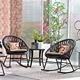 ovios 3 Piece Patio Rocking Bistro Set,Patio Outdoor Furniture, Porche Rocking Chairs Conversation Sets with Glass Coffee Table for Small Space,Deck,Terrace (Beige)