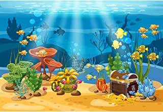 Leyiyi Undersea Treasure Hunting Backdrop 10x6.5ft Photography Background Underwater Sunken Treasure Boys Birthday Party Marine Banner Baby Shower Seabed Water Plants Kids Adults Photo Props