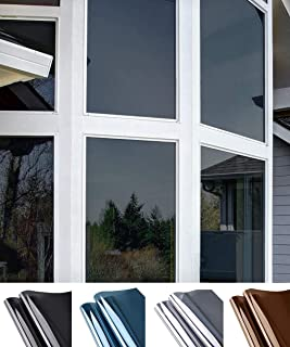 Oxdigi One Way Privacy Window Film Sun Blocking Mirror Tint Solar Film No Glue Static Window Cling Heat Control Anti UV Removable 29.5