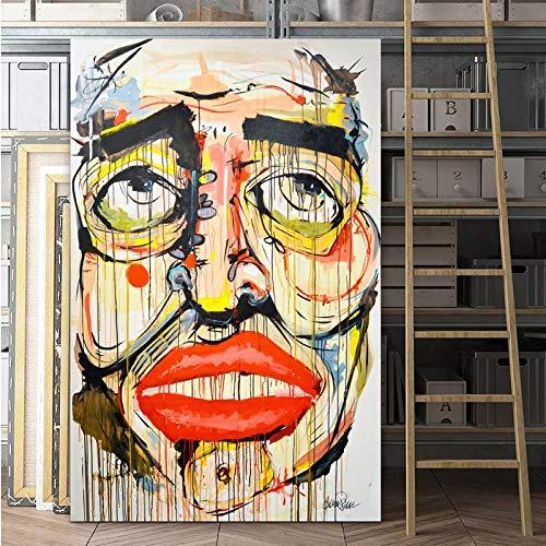 Pop-art prints canvas schilderij abstracte woonkamer decoratie kunstwerk gezicht portretweergave lippen kleurrijke emoties schilderij 23.6x35.4inch