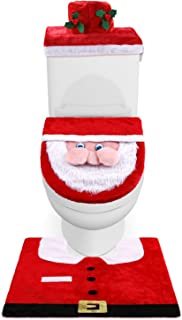 New Upgraded Plush 3D Nose Santa Toilet Seat Cover, Rug Set and Tank Cover with Tissue Box Cover Funny Christmas Decorations, Bathroom Decoration - Set of 3