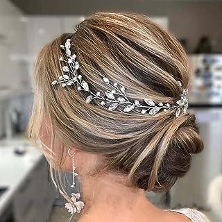 Handcess - Fascia per capelli da sposa con cristalli e foglie argentate, accessorio per capelli con strass per sposa e dam...