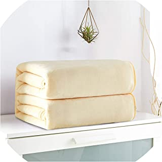 retro store 1Pc Solid Color Flannel Fleece Throw Blanket Super Soft Winter Sheet Bedspread Warm Blankets Towel for Bed Sofa Traveling,Beige,150x200cm