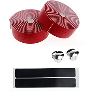 DAVEVY 2x Bike Handlebar Tape Faux Leather Wrap +2 Bar Plug, Bicycle Bar Tape Cycling Handle Wraps Fixed Gear For Road Bike Sports