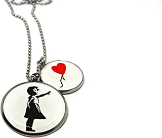 Collana Banksy - Bambina con il palloncino rosso - Collana Lunga - Collana ciondolo