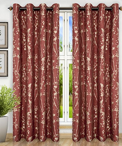 "Simple Comfort Meadow Textured Open Floral Pattern (Grommet Top Panel, 50 x 84"", Cardinal Red)"