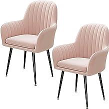 ZCXBHD Zestaw 2 krzeseł biurkowych zmontowane krzesła w nowoczesnym stylu krzesło tapicerowane siedzisko złote aksamitne t...