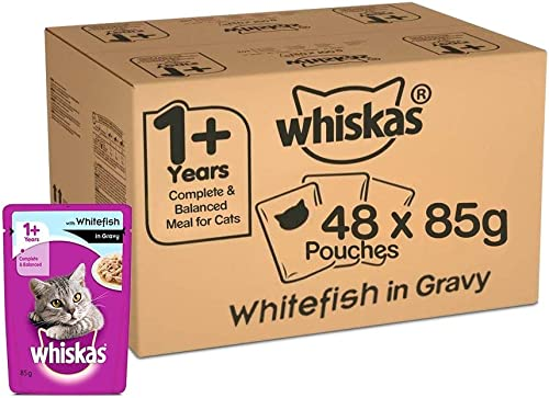 Whiskas Adult (+1 year) Wet Cat Food, Whitefish in Gravy Monthly Pack, 48 Pouches (48 x 85g)