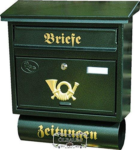 BTV Briefkasten, Premium-Qualität aus Stahl, verzinkt, pulverbeschichtet F groß in grün dunkelgrün moosgrün Zeitungsfach Zeitungen Post antik Mailbox Schild