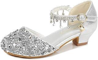 AIYIMEI Scarpe con Tacco Ragazza Ballerine Bambina Cerimonia Festa Lustrino Nozze Scarpe da Principessa Eleganti Danza Lat...