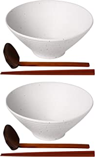 Kanwone Ceramic Japanese Ramen Bowl Set, Soup Bowls - 60 Ounce, with Matching Spoons and Chopsticks for Udon Soba Pho Asia...