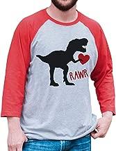 7 ate 9 Apparel Men's Dinosaur Valentine's Day Raglan Shirt