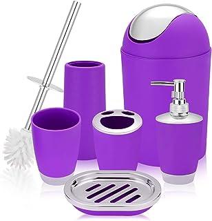 Amazon Com Purple Bathroom Accessory Sets Bathroom Accessories Home Kitchen