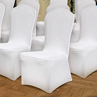 Happybuy 100 Pack of White Chair Covers Stretch Polyester Spandex Slipcovers for Banquet Dining Party Wedding Decorations Folding Slipcovers Flat Front Chair Covers (100pcs-Flat Front)