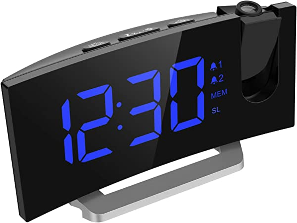 Mpow 月投影闹钟 LED 弧形显示屏数字闹钟月 FM 收音机双闹钟带暗月 12-36 月报警声 24 小时 USB 手机充电器投影时钟卧室吸顶灯
