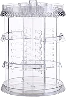 BayQian 360 Degree Rotation Makeup Organizer,Adjustable Cosmetic Storage with Large Capacity(Clear)