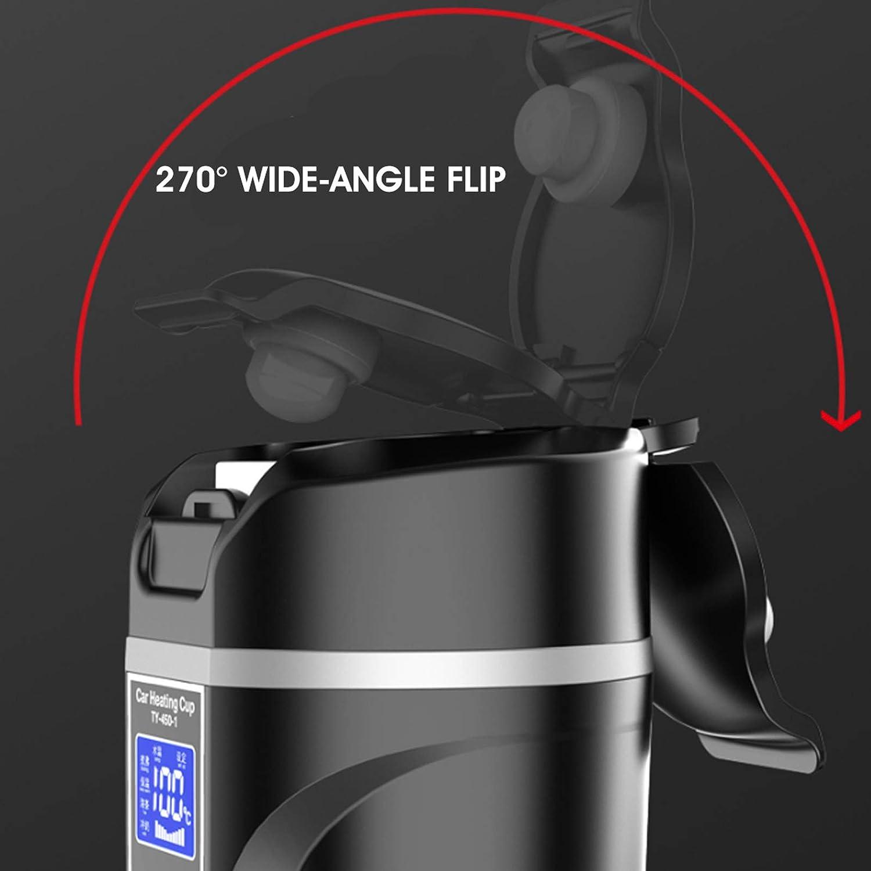 Sarazong DC 12 V / 24 V 450 ML Tasse De Chauffage De Voiture, Tasse d'eau Électrique Bouilloire Affichage LCD Température Bouilloire Café Thé Lait Chauffé,Blanc Black
