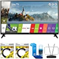 LG LJ5500 Full HD Smart TV 2017 Model with 2x 6ft High Speed HDMI Cable Black, Universal Screen Cleaner for LED TVs & Durable HDTV and FM Antenna