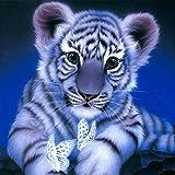 Fipart 5D DIY Peinture Diamant Point De Croix Kit D'artisanat ,Salon Stickers Muraux Décor à La Maison(16X16inch/40X40CM),Tigre Blanc