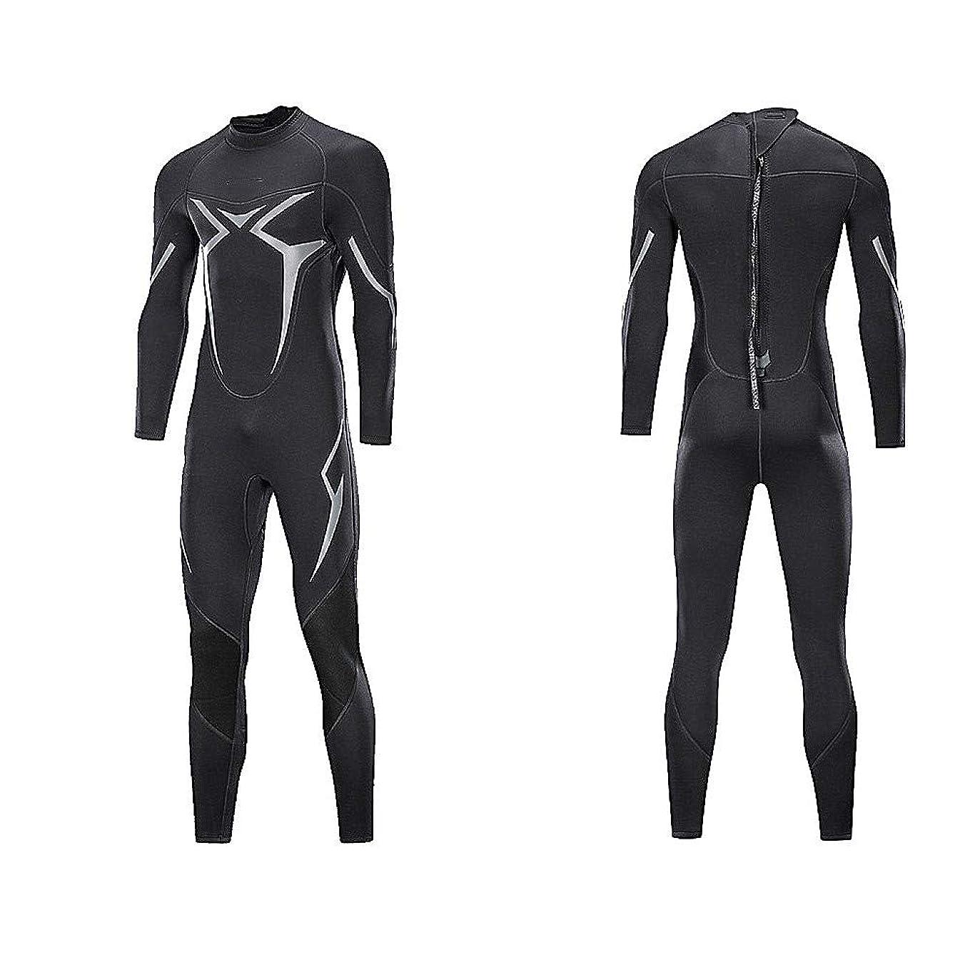 署名汚物ハンドブックメンズウェットスーツ、ワンピースウェットスーツ3ミリメートルプレミアムネオプレンフルスリーブダイビングスキンダイビングスーツウォームバックジップスイミング用ウォータースポーツ