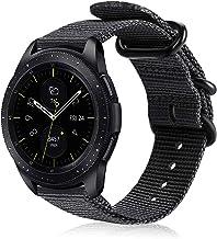 FINTIE Cinturino per Galaxy Watch 42mm & Gear Sport & Gear S2 Classic & Huawei Watch 2, 20mm Morbido Nylon Sport Regolabile Wrist Bands con Fibbia Metallica, Nero