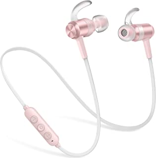 Wireless Headphones 10 Hrs Playtime, Picun HiFi Stereo CSR Bluetooth Headphones IPX7 Waterproof Sports Earbuds with HD Mic, Magnetic, Anti-Fall Off, Painless Fit for Running Gym Workout (Rose Gold)