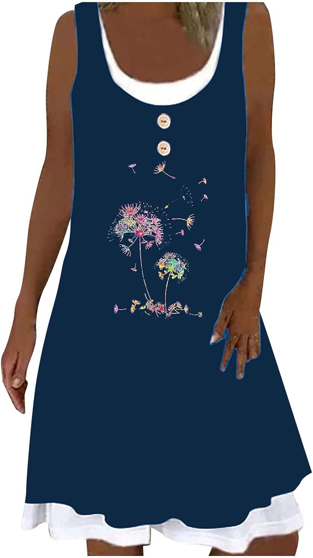 Women Dresses Summer Casual Sleeveless Vintage Tank Short Dress Loose Trend Fake Two-Piece Bohemian Vest Dresses