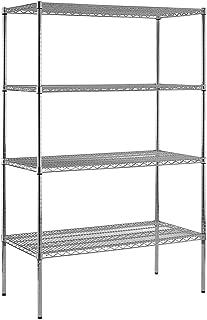 Sandusky Lee WS482474-C Chrome Steel Wire Shelving, 4 Adjustable Shelves, 800 lb. Per Shelf Capacity, 74