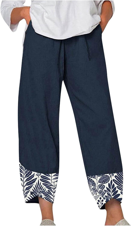 Toeava Casual Pants for Women,Womens Bohemian Cotton Linen Cropped Trouser Harem Pants Plus Size Loose Capris Crop Pant