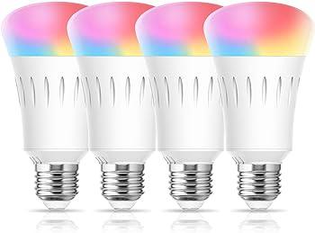4 Pack LOHAS LED RGB A19 Color Changing 60W LED Smart WiFi Light Bulbs