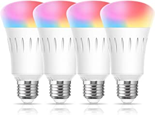 Smart LED WiFi Light Bulb, LOHAS LED 2700K-6000K Daylight RGB A19 Bulb Color Changing 60W Equivalent, Dimmable LED E26 Bulbs Works with Alexa, Google Home, Siri (No Hub Required), UL Listed, 4 Pack