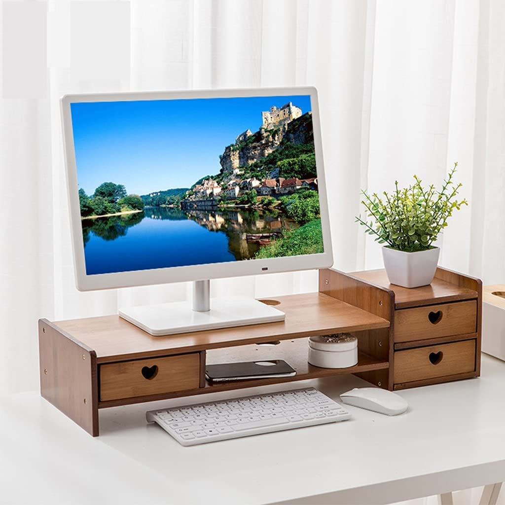 SUNDAY HOME Desktop Monitor Riser Stand with 3 Deawers, 2 Tier Bamboo Risers for Displays, PC Laptop Universal Monitor Stand, Desk Organizers and Accessories