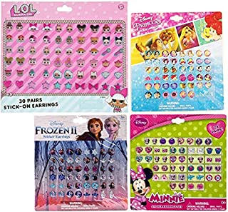 Disney Sticker Earring Bundle for Kids Toddlers - Includes Over 100 Pairs of Minnie Mouse, LOL, Frozen II, and Disney Princess Earrings