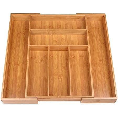 Besteckkasten fur Schubladen Cutlery Schubladen Ordnungssystem Bambus schubladen organizer Ausziehbarer Besteckeinsatz f/ür Schubladen Organizer 100/% Reines Bambus mit Trennwand f/ür K/üche