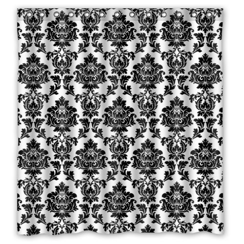 """Black and White Damask Shower Curtains,Polyester Fabric Waterproof,66"""" x 72"""""""
