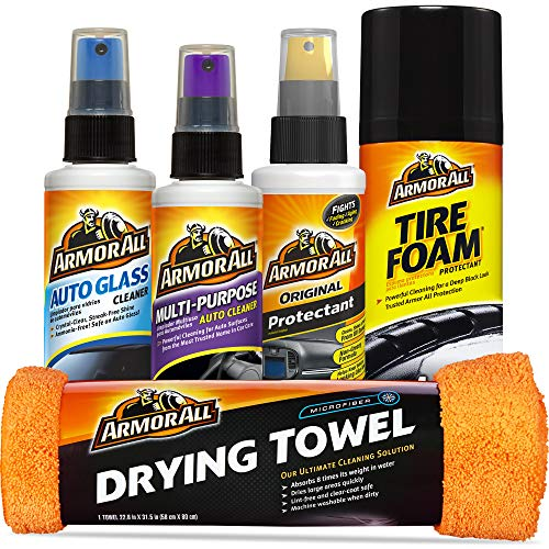 Armor All Car Wash and Interior Cleaner Kit (5 Items) - Includes Towel, Tire Foam, Glass, Protectant and Cleaning Spray, 19451