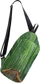 Mens Crossbody bag Bamboo Forest Chinese Landscape Nature Chest Backpack