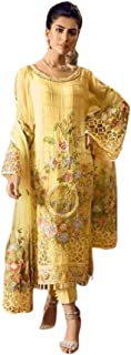 Golden Indian/Pakistani Musim Women Abaya Style Heavy Georgette Staright Pant Suit Ethnic Party Wear Dress 6010