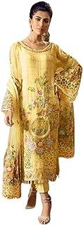 فستان نسائي من نسيج جورجيت طويل من Golden Indian/باكستاني مقاس 6010