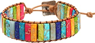 IUNIQUEEN Leather Chakra Handmade Imperial Jasper Wrap Adjustable Bead Bracelet