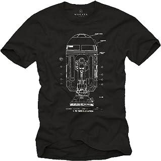 MAKAYA Maglietta Android - R2 Blue Print - T-Shirt Stampa Robot