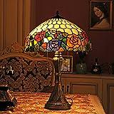 Gweat Tiffany 16 pollici europeo stile pastorale Handmade Stained Glass elegante Tricromatica Rosa Tavolo lampada da comodino luce