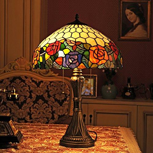Gweat Tiffany, lampada da tavolo o comodino, da 40,6 cm, stile pastorale europeo, fatta a mano in vetro macchiato, elegante color rosa tricromatico