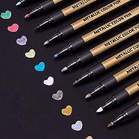 ANYUKE Metallic Markeerstiftset, 10 Kleuren Permanent Marker, Brushpen om uw Fotoalbum te Ontwerpen, Gastenboek of...