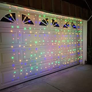 Alion Home Curtain Lights 2-in-1 Dual Color 400-Count LED String Light Wedding Party Outdoor Indoor Decorations - 10 ft W × 6 ft H (1, Cool White & Multi Color)