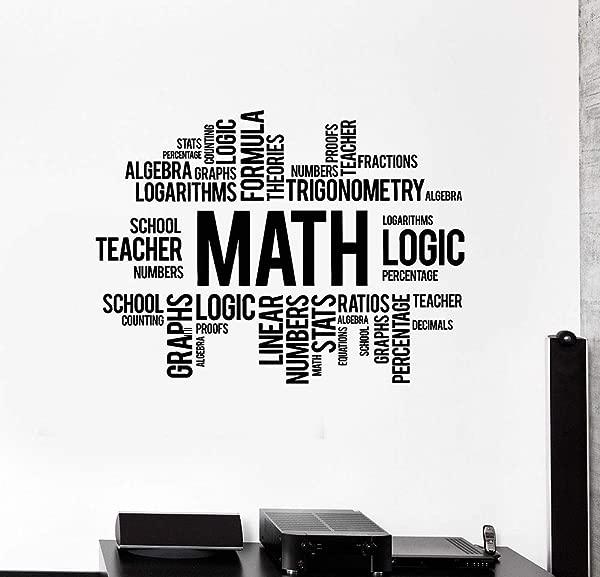 HJYAAA Math Words Cloud Vinyl Art Wall Decals School Decor Science Stickers Bedroom Home Decoration Children S Room 57x42cm