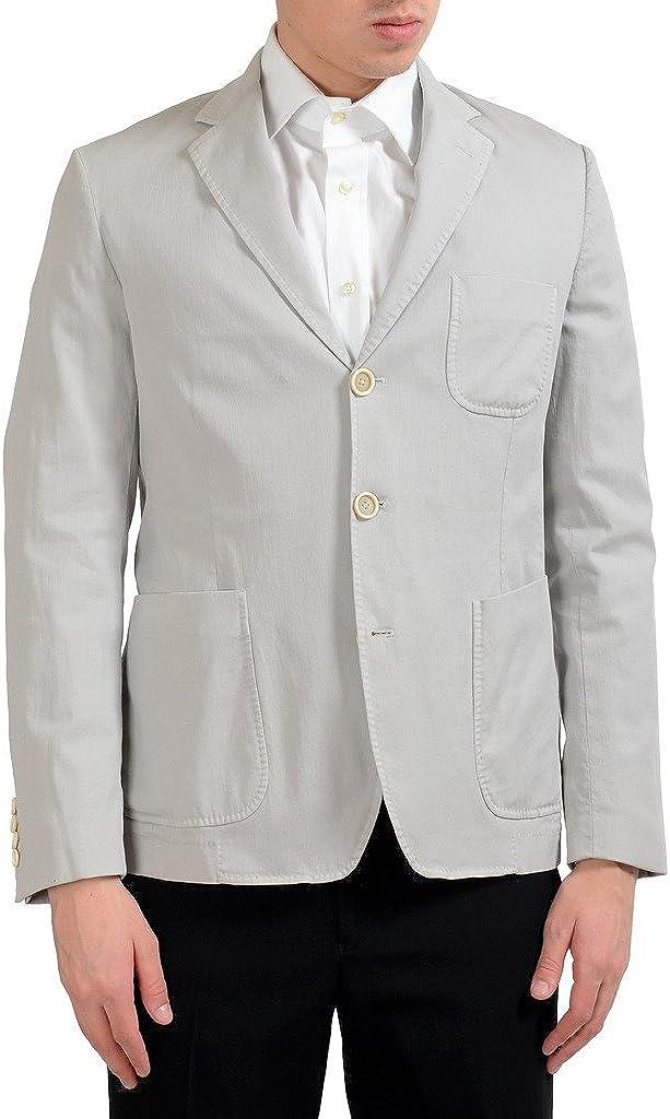 MALO Men's Gray Stretch Three Button Blazer Sport Coat