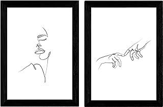 Nacnic Set de 2 láminas de Dibujos con un Solo Trazo Manos
