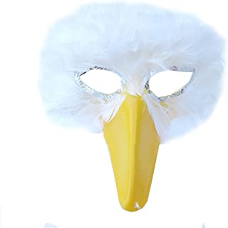 SACASUSA (TM) Large Adult White Feather Bird Mask for Men or Women